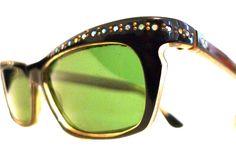 French Rhinestone Cat Eye Glasses / Frame France Eyeglasses or Sunglasses, Black CatsEyes