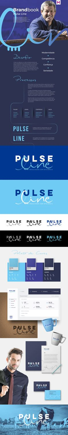 Branding, Pulse Line, Brandbook, Magno Web & Design, Layout, Blue, Marca.