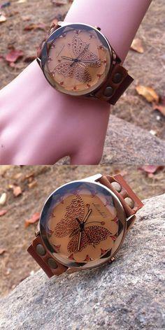 Retro Handmade Cowhide Leather Butterfly Personality Women Watch for big sale ! #women #watch #butterfly #handmade #retro