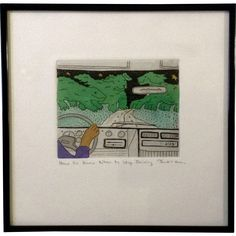 Jan Havens Etching, How to Know When to Stop Driving, Limited Edition 56 of 300 Print Signed by Artist Works on Paper