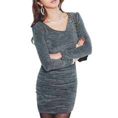 Allegra K Woman Fashion Double V Neck Long Sleeve Velvet Mini Dress Gray: Amazon.com: Clothing