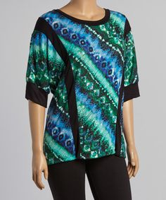 Love this Blue & Green Abstract Jungle Tunic - Plus on #zulily! #zulilyfinds