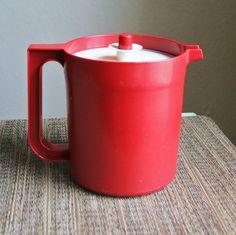 Vintage Red Tupperware Drink Pitcher