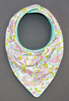Pink, Teal and Lime Green Paisley Bandana Bib by RedFrecklesAndBlue on Etsy