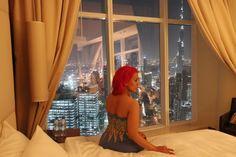Pink hair. Fantasy hair. Long dress. Dubai