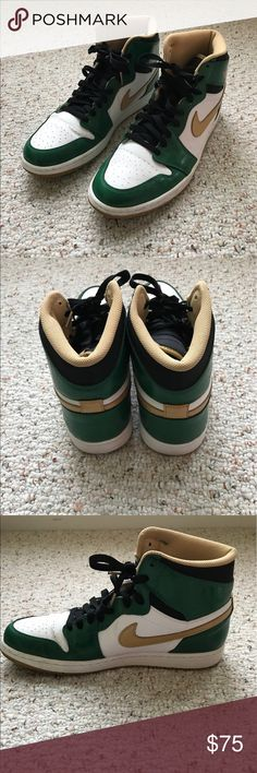 Nike Air Jordan| Retro| High OG Celtics Shoes ECU Nike Air Jordan Retro OG High Celtic Basketball Shoes are a limited edition and are in excellent condition. These shoes have only been worn a few times. These white/ Green/ Gold leather shoes with black laces are amazing. Rubber soles. Padded footbed. Great for Celtics fans or just a fan of Air Jordan's. Smoke Free Home. Medium Width. Air Jordan Shoes Athletic Shoes