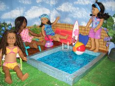 I made a swimming pool for the girls | American Girl Playthings!