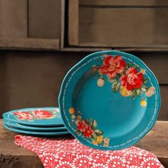 """Free Shipping on orders over $35. Buy The Pioneer Woman Vintage Floral Teal 8.5"""" Salad Plate Set, Set of 4 at Walmart.com"""