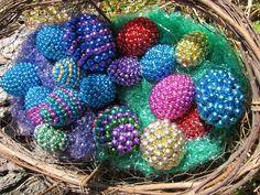 Eggs covered in leftover Mardi Gras beads
