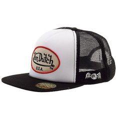 Von Dutch Men s OG Patch Tan So Cal White Trucker Cap Hat (One Size Fits  Most) e6e3f5581bf3