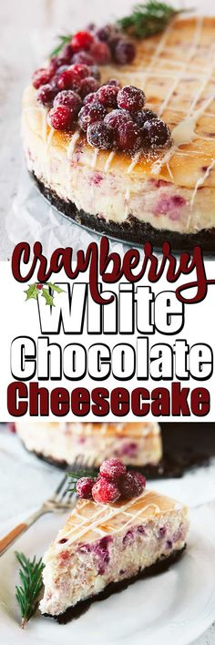 Cranberry White Chocolate Cheesecake is perfect for the holidays. Thanksgiving to Christmas and New Year's Eve it will be a show stopper of a dessert!