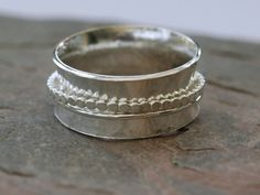 Sterling Silver Spinner Ring with Two Spinning Bands, Hallmarked,  R121 £36.00