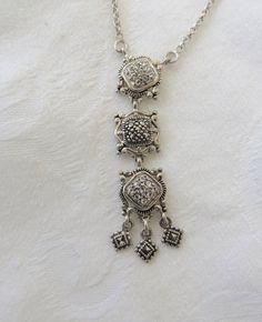 Art Deco Necklace Sterling Marcasite Dangle Pendant 16 Inch #jewelryantique
