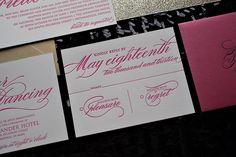 hot pink, gold, summer wedding trends, 2013 wedding trends, letterpress wedding invitations Jupiter and Juno