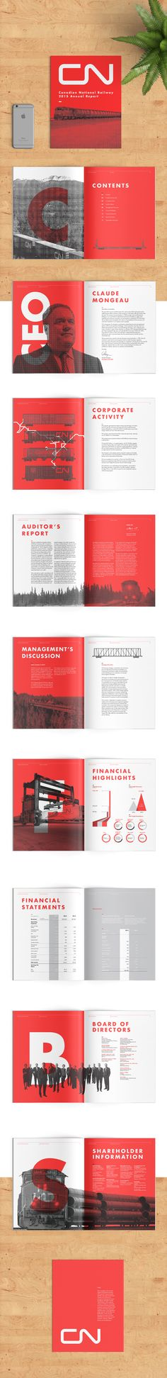 Nice harmony of graphics, layout and colour and text considerations. CN Annual Report on Behance Layout Design, Design Corporativo, Design De Configuration, Print Layout, Book Design, Page Design, Print Design, Design Brochure, Brochure Layout