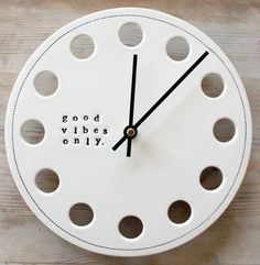 pottery clock | ceramic porcelain clock 8.25 good vibes only. IN by mbartstudios, $50 ...