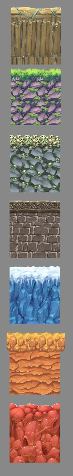 square of textures: Texture Drawing, 3d Texture, Texture Painting, Game Textures, Textures Patterns, Environment Concept Art, Environment Design, 2d Game Art, Hand Painted Textures