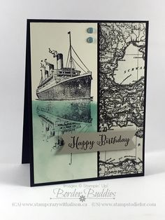 Visit www.stampstodiefor.com to see how to create the ship's reflection in the water.  Reflection Technique using Traveler stamp set #stampinup #stampingtechniques www.stampstodiefor.com