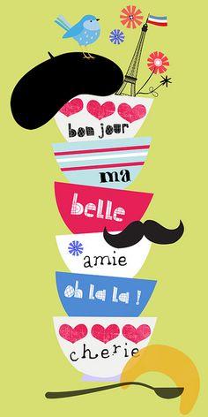 bon jour ma belle Canvas Print by Elisandra I Love Coffee, Coffee Art, My Coffee, Coffee Cups, Tea Cups, Paris 3, I Love Paris, Paris France, Paris Illustration