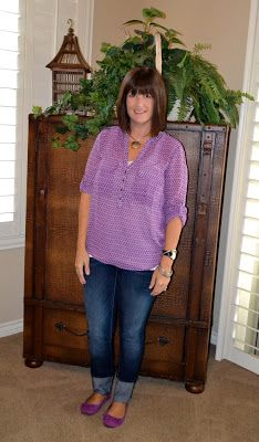 purple and skinny jeans; for the over 40 crowd