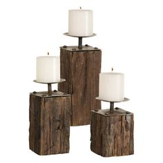 Iron & Wood Candleholders.....made of recycled planks of wood.