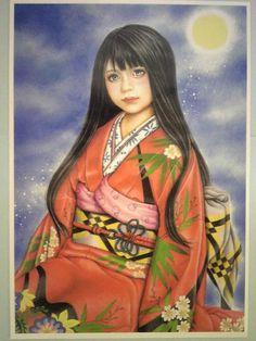 A4プリント「ドールガール」 日本人形。 絵 イラスト アート|イラスト|KUMIKO|ハンドメイド通販・販売のCreema