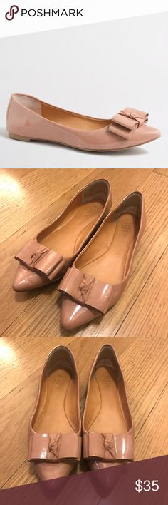 J. Crew Emery Bow Flats J. Crew Emery Bow Flats in Bronzed Clay. -Size 8 -Patent polyurethane upper. -Excellent condition, tiny scuffing in inside part of shoe.  NO Trades. Please make all offers through offer button. J. Crew Shoes Flats & Loafers