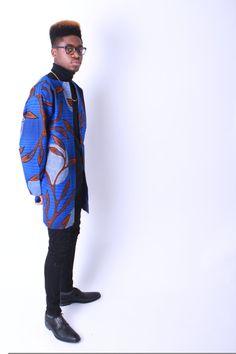 Men's Ankara Long Coat African Print van RocksonClothing op Etsy