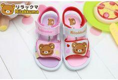 San-x Rilakkuma Kid Sandals Shoes Polka Dot Pink Red KM3903