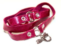 Triple #Wrap #Leather Bracelet #Pink with #dragonfly charm by WrapItSnapIt, $25.00
