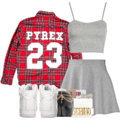 ➛ im pretty sure i could pull this outfit off in the summer or just on a trip to la with the right hairstyle .. ( + ) maybe the pyrex shirt tied around waist and a black leather jacket , and instead of a1's some knee high lace up high heel boots or something ?