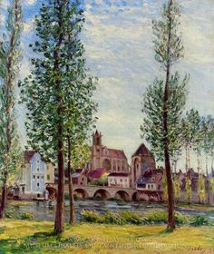 Alfred Sisley View of Moret-sur-Loing through the Trees