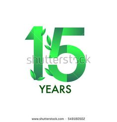 fifteen years anniversary celebration logotype with leaf and green colored. 15th birthday logo on white background