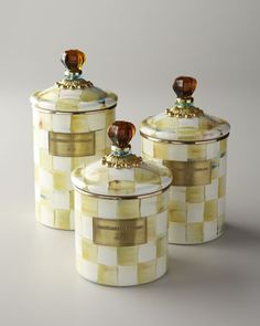 Parchment Check Canisters by MacKenzie-Childs at Horchow. #alliwantfromHorchow