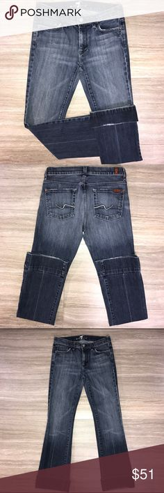 7FAM 7 For All Mankind flared medium wash ombre jeans. Factory feathering and factory rough edging at pockets and hems. Wide seam hem can be worn rolled up or down. Good condition. 7 For All Mankind Jeans Boot Cut