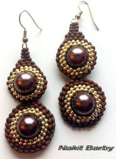 Beaded earrings with brown and gold seed beads by NakitBarby, $20.00