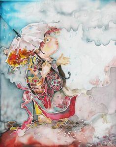 Original painting on silk  home decor detai  wall by silkstory, $85.00