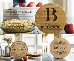 New Jumbo Cork and Bamboo coasters! You will love the sturdiness of these items. Such a cute gift idea! Personalised Gifts Unique, Personalized Wedding Gifts, Unique Gifts, Cork Trivet, Cute Gifts, House Warming, Kitchen Decor, Coasters, Bamboo
