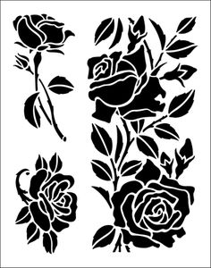 Roses stencil from The Stencil Library Rose Stencil, Stencil Painting, Fabric Painting, Stenciling, Stencil Patterns, Stencil Designs, Stencils Online, Black Silhouette, Silhouette Cameo Projects