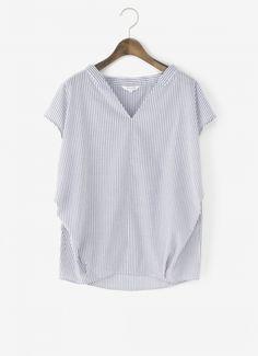 コットンポリエステルキュプラVネックプルオーバーシャツ 通販|PLST(プラステ)公式通販