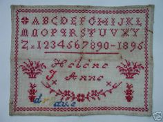 Antique French Redwork Sampler Dated 1895