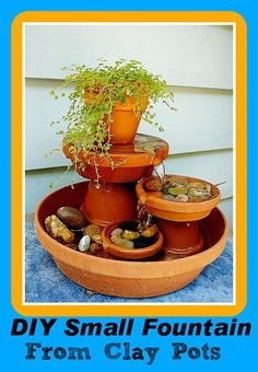 Happy Weekend everyone! This weeks featured DIY project is a small tabletop fountain made from clay pots that you could use indoors or outdoors on your balcony or patio.