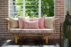 Pink perfection from indoor / outdoor performance fabrics. 😍😍😍 Available from Cushion Factory! Sunbrella Outdoor Cushions, Bench Cushions, Outdoor Life, Indoor Outdoor, Outdoor Living, Outdoor Doors, The Hamptons, Sofa, Beaches