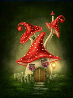 Illustration about Fantasy mushroom house in the forest. Illustration of tale, surreal, story - 51059052 Mushroom Drawing, Mushroom Art, Fantasy Kunst, Fantasy Art, Fantasy House, Mushroom House, Fairy Art, Fairy Houses, Whimsical Art