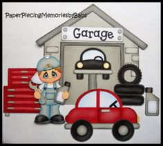 Premade Paper Pieced Garage Boy Mechanic Set for Scrapbook Pages-by Babs Baby Scrapbook Pages, Baby Boy Scrapbook, Scrapbook Paper Crafts, Scrapbook Cards, Scrapbook Images, Paper Piecing, Cute Boy Things, Paper Punch Art, Decorate Notebook