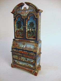 Signed and dated 1981 vibrantly painted secretary by Natasha with Italianate landscapes, century ladies and gents. Many decorative flourishes embellish this lovely piece inside and out. Hand Painted Furniture, Furniture Decor, Accent Furniture, Miniature Dollhouse Furniture, Dollhouse Miniatures, Polymer Clay Animals, Whimsical Art, Secretary, Wooden Crates