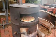 44 Gallon Drum Stove, now a pizza