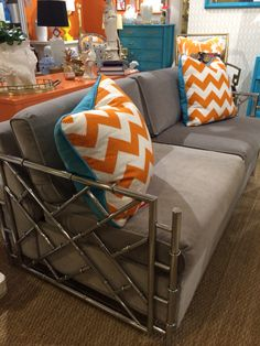 On trend -- color!!!            Small scale vintage sleeper sofa from Parker Kennedy at Codarus Showroom #hpmkt #hpmktss