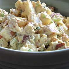 "Red Skinned Potato Salad I ""I've made a lot of potato salads in my day, but this is the best!! My kids are crazy about it. The bacon really makes the flavor difference."""