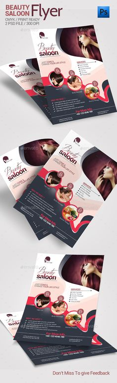 Buy Beauty Saloon Flyer by posanlab on GraphicRiver. Beauty Saloon Flyer Specifications: 1 color PSD file included Help file included Size with include bleeds CMY. Web Design, Flyer Design, Layout Design, Graphic Design, Design Salon, Leaflet Design, Creative Brochure, Corporate Flyer, Social Media Design